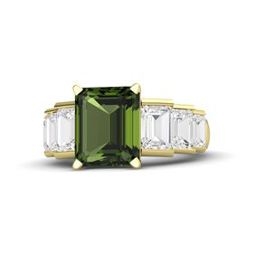 Emerald Green Tourmaline 14K Yellow Gold Ring with White Sapphire