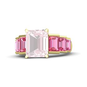 Emerald Rose Quartz 14K Yellow Gold Ring with Pink Tourmaline