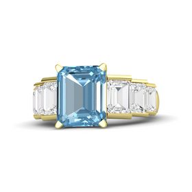 Emerald Aquamarine 14K Yellow Gold Ring with White Sapphire