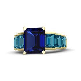 Emerald Blue Sapphire 14K Yellow Gold Ring with London Blue Topaz