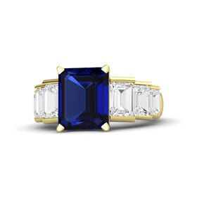 Emerald-Cut Sapphire 14K Yellow Gold Ring with White Sapphire
