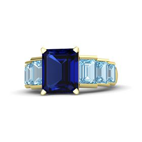 Emerald Blue Sapphire 14K Yellow Gold Ring with Aquamarine