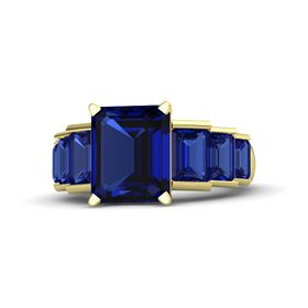 Emerald Blue Sapphire 14K Yellow Gold Ring with Blue Sapphire