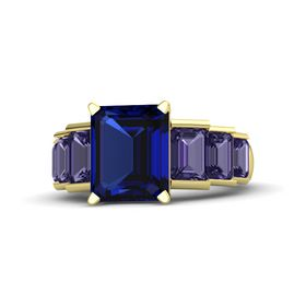 Emerald-Cut Sapphire 14K Yellow Gold Ring with Iolite