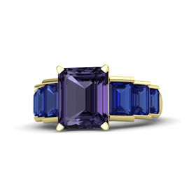 Emerald Iolite 14K Yellow Gold Ring with Blue Sapphire