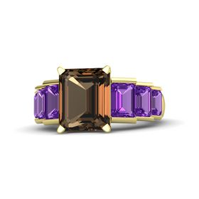 Emerald-Cut Smoky Quartz 14K Yellow Gold Ring with Amethyst