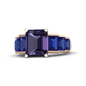 Emerald Iolite 18K Rose Gold Ring with Blue Sapphire