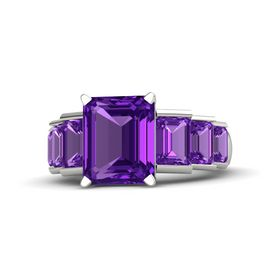 Emerald Amethyst 18K White Gold Ring with Amethyst