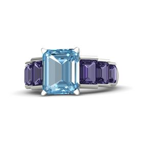 Emerald Aquamarine Palladium Ring with Iolite