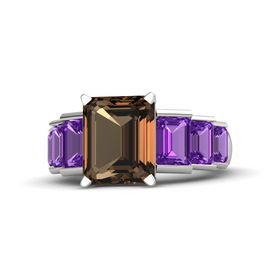 Emerald-Cut Smoky Quartz Palladium Ring with Amethyst