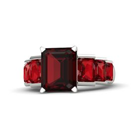 Emerald-Cut Red Garnet Platinum Ring with Ruby