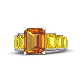 Emerald-Cut Citrine Platinum Ring with Yellow Sapphire