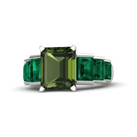 Emerald-Cut Green Tourmaline Platinum Ring with Emerald