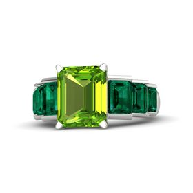 Emerald-Cut Peridot Platinum Ring with Emerald
