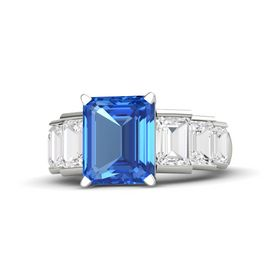 Emerald-Cut Blue Topaz Platinum Ring with White Sapphire