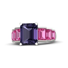 Emerald-Cut Iolite Platinum Ring with Pink Sapphire