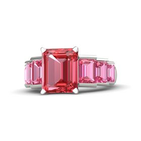 Emerald-Cut Pink Tourmaline Platinum Ring with Pink Tourmaline