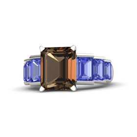Emerald-Cut Smoky Quartz Platinum Ring with Tanzanite