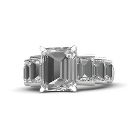 Emerald-Cut Rock Crystal Sterling Silver Ring with Rock Crystal