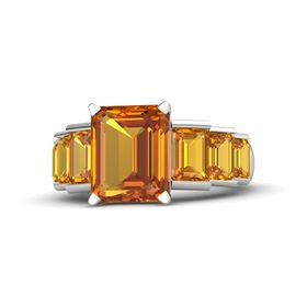 Emerald-Cut Citrine Sterling Silver Ring with Citrine