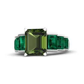 Emerald-Cut Green Tourmaline Sterling Silver Ring with Emerald