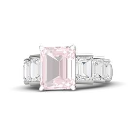 Emerald-Cut Rose Quartz Sterling Silver Ring with White Sapphire