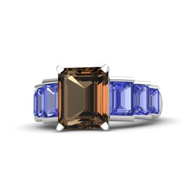 Emerald-Cut Smoky Quartz Sterling Silver Ring with Tanzanite