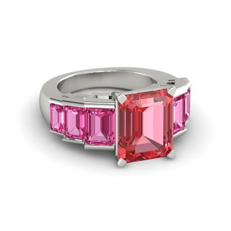 emerald cut pink tourmaline platinum ring with pink