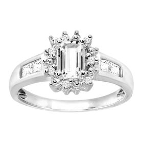 1 ct White Sapphire Ring with Diamonds
