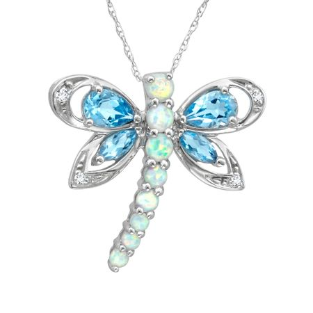 1 34 ct natural blue topaz and created opal dragonfly pendant with 1 34 ct topaz opal dragonfly pendant aloadofball Gallery