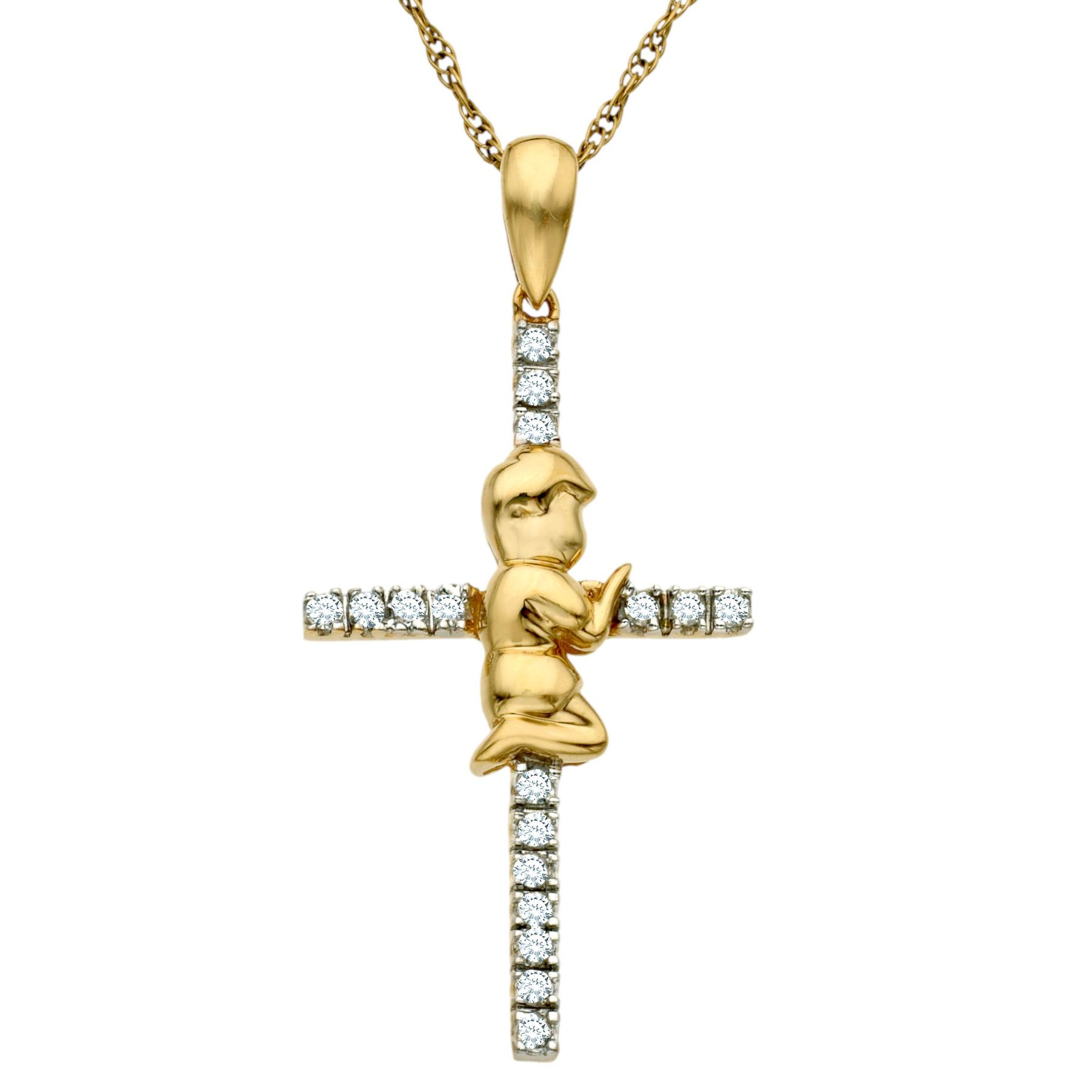 Finecraft 1/8 Ct Diamond Cross Pendant