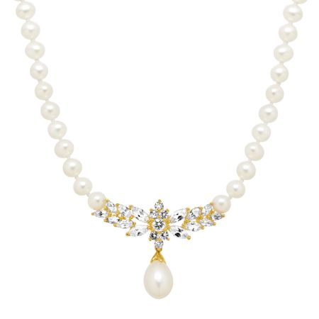 Pearl & 3 3/8 ct White Sapphire Garland Necklace