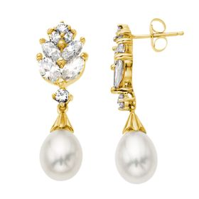 Pearl Drop Earrings with White Sapphire