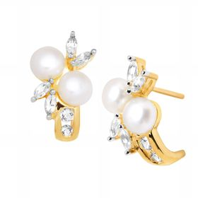 Pearl & 1/2 ct White Sapphire 'J' Earrings