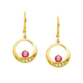 Ruby Circle Earrings with Diamonds