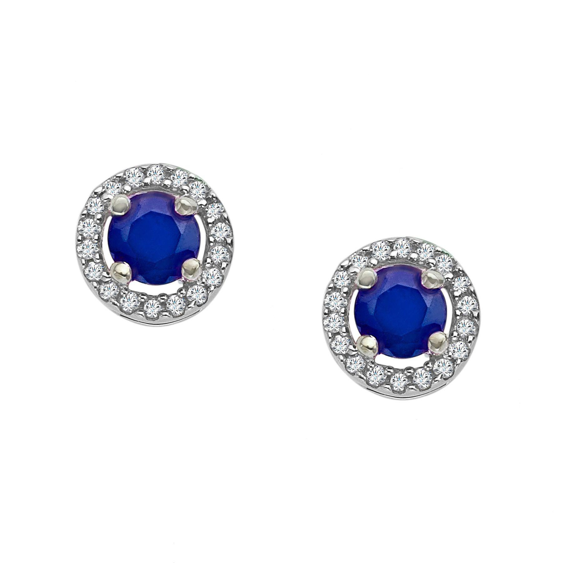 846f2fd1148f8 1/3 ct Sapphire & 1/10 ct Diamond Stud Earrings in 10K White Gold