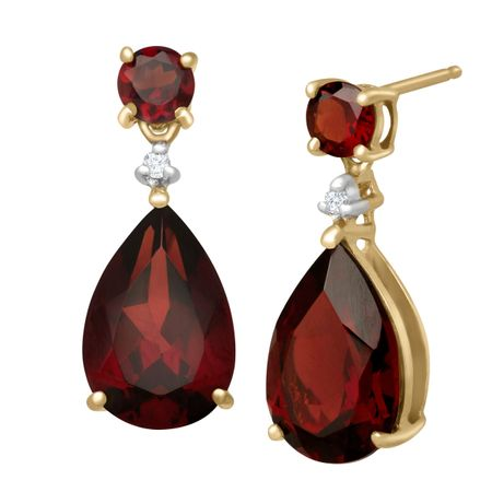 f659c5abd 6 7/8 ct Natural Garnet Drop Earrings with Diamonds in 10K Gold | 6 ...