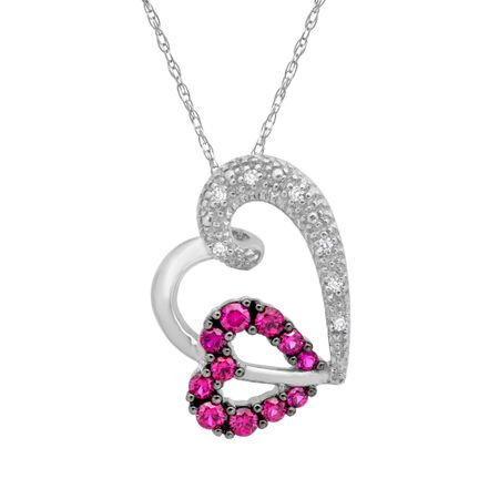 38 ct created ruby heart pendant with diamonds in 10k white gold 38 ct ruby heart pendant with diamonds aloadofball Gallery