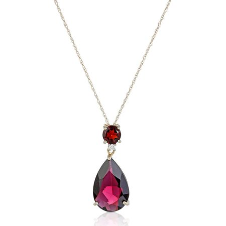 Garnet Pear Pendant with Diamond