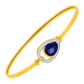 2 1/10 ct Ceylon Sapphire & 1/8 ct Diamond Teardrop Bangle Bracelet