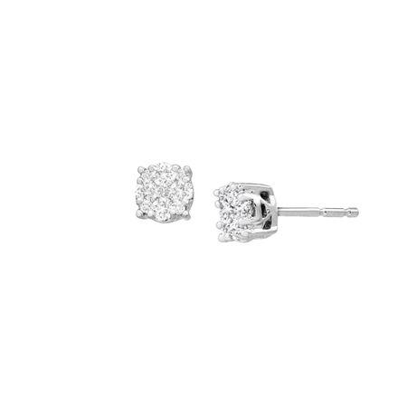 1 4 Ct Diamond Composite Stud Earrings White