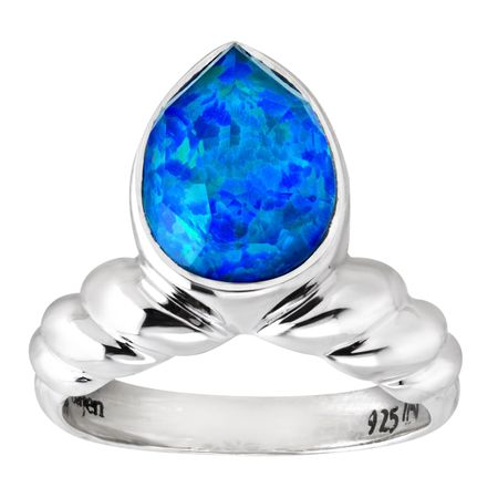 Blue Opal Quartz Doublet Ring