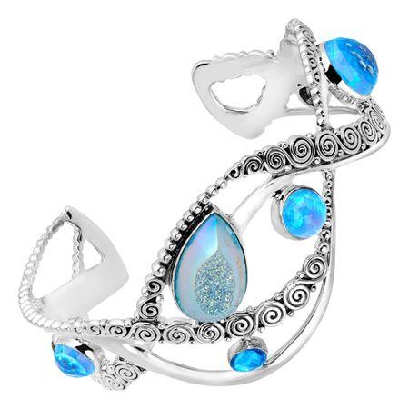 Pariba Druzy Blue Opal Cuff Bracelet