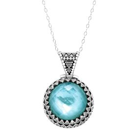 Blue Quartz & Mother-of-Pearl Doublet Pendant