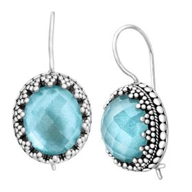 Blue Quartz & Mother-of-Pearl Doublet Earrings