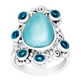 Sleeping Beauty Turquoise & Paraiba Quartz Ring