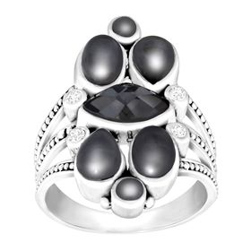 Hematite Doublet Ring with White Topaz