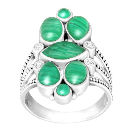 Malachite Doublet Ring with White Topaz