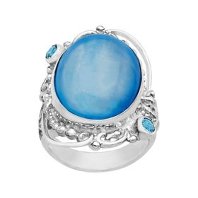 Blue Selenite & Blue Topaz Ring
