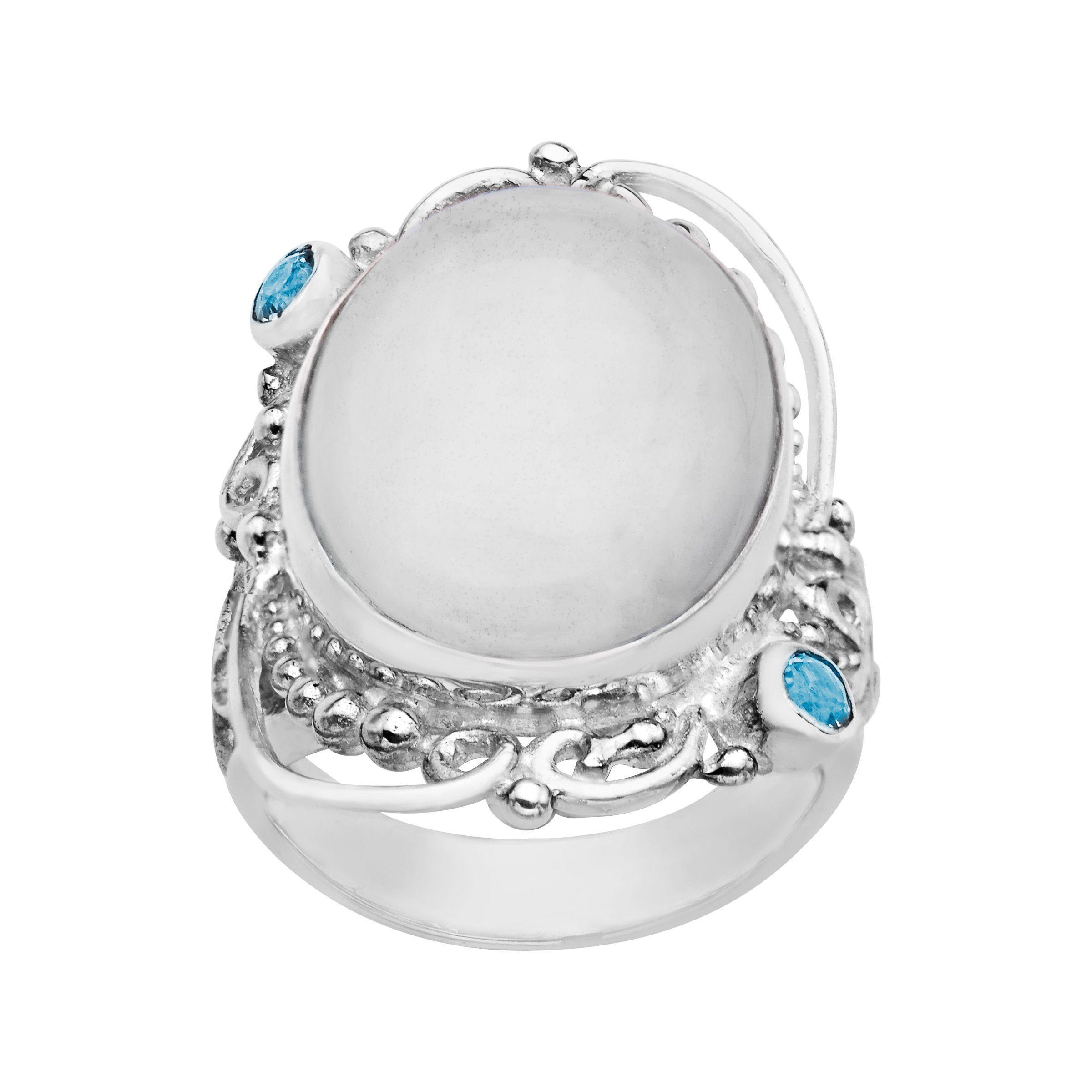 sajen white selenite blue topaz ring in sterling silver. Black Bedroom Furniture Sets. Home Design Ideas